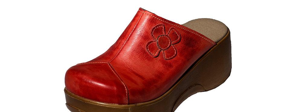 כפכף עור אדום פרח ברונקס 3343