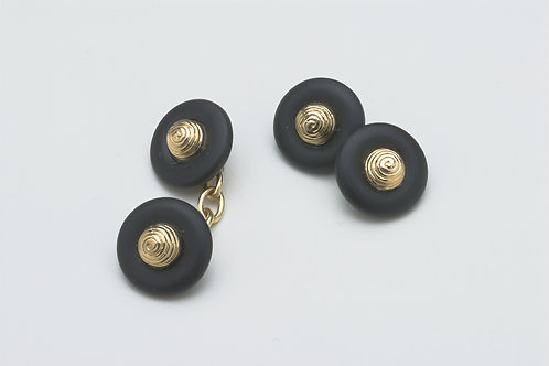 Beehive Cufflinks in frosted onyx