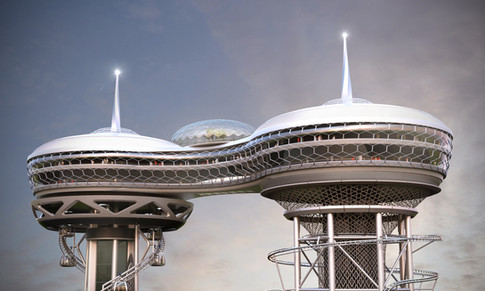 Skybridge between Polercoaster and Skyspire Concept
