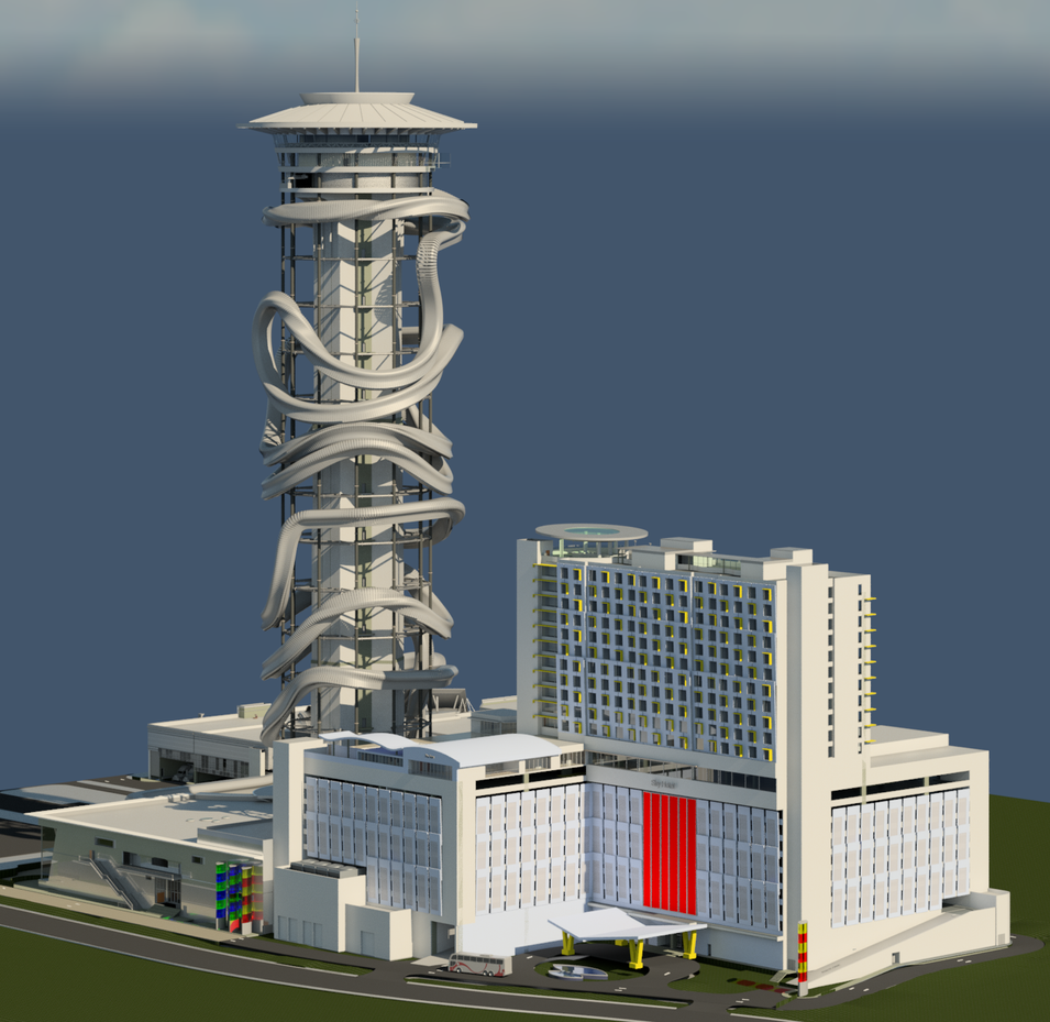 Model of Polercoaster attached to a resort concept.