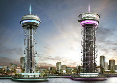 Skyspire and Polercoaster Artist Concept