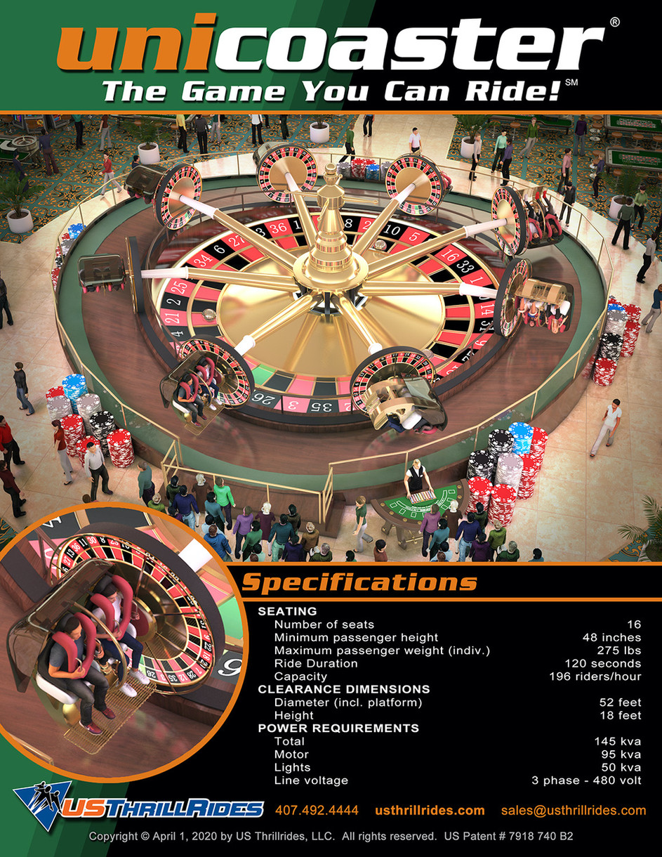Unicoaster Roulette Promotional Spec Sheet