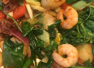 Prawns Parma ham and spinach~five minute meal made from leftovers.