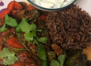 Lamb curry with red rice and raita