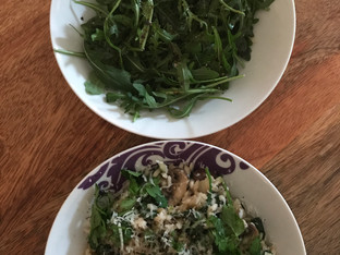 Wild mushroom and spinach risotto with rocket salad.