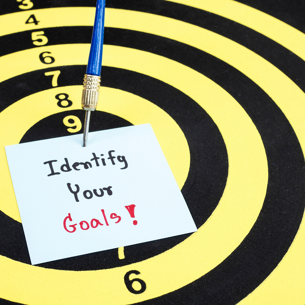 Picture of a dart board.  One dart is holding a piece of paper on the bullseye.  The paper says Identify Your Goals