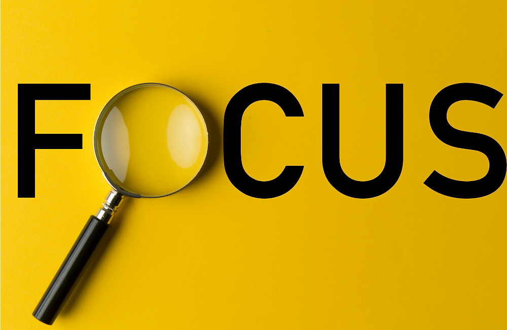A picture of the word FOCUS in capital letters.  The letter O is replaced with a magnifying glass
