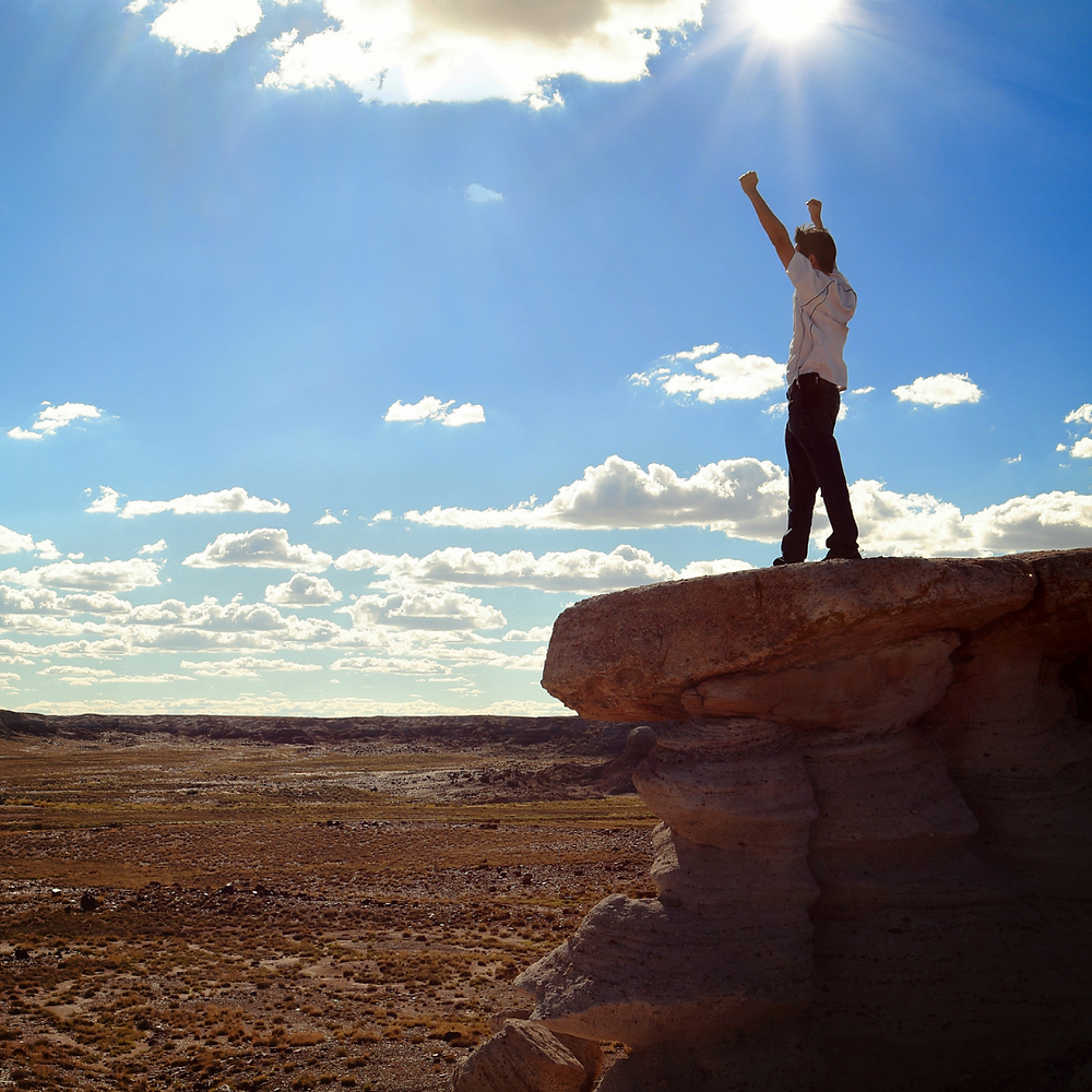 Man holding arms up in the victory sign.  He is standing on an elevated rock