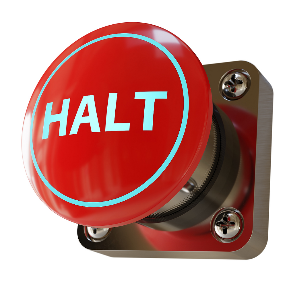 Picture of a red button with the word halt written in white letters