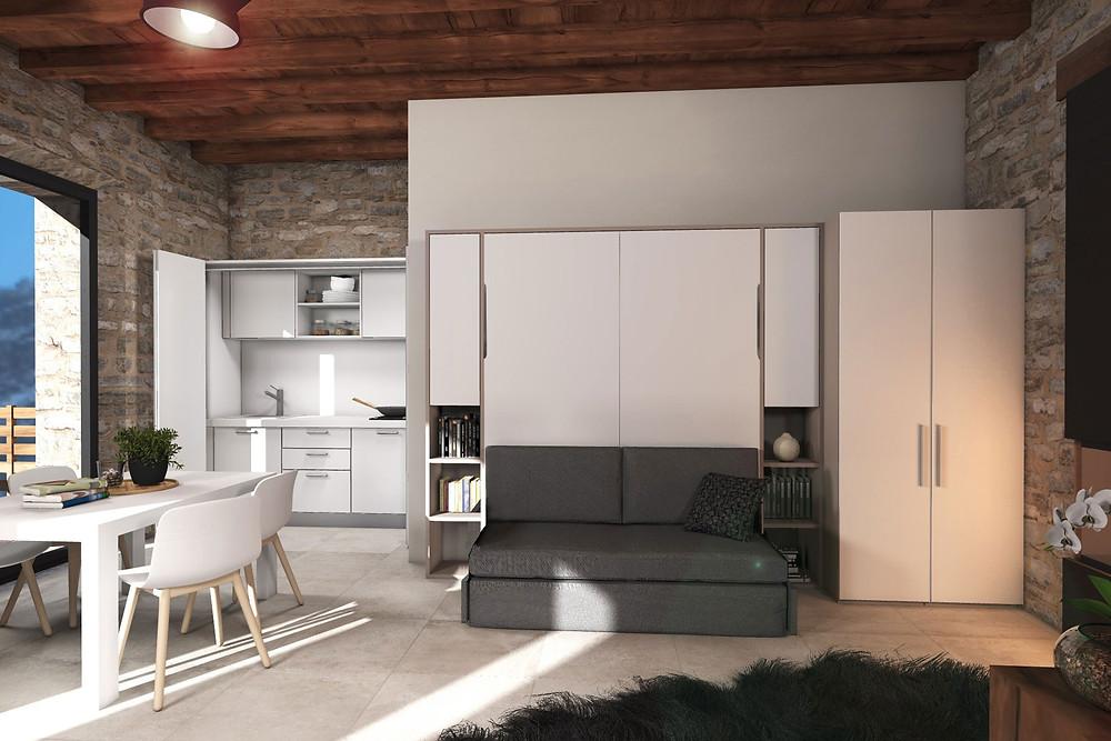 .מיטת קיר משולבת עם מערכת ישיבה- ניצול מקסימלי של דירת הסטודיו אפילו עם מטבח נסתר