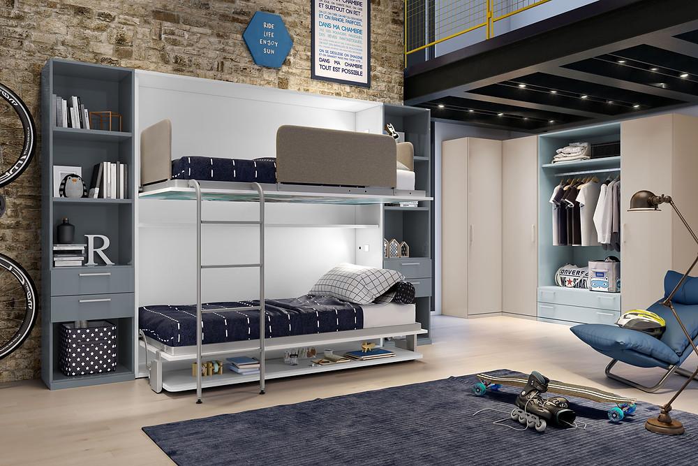 מיטת קומותיים שנפתחת מהקיר- שני ילדים בחדר זאת כבר לא בעיה
