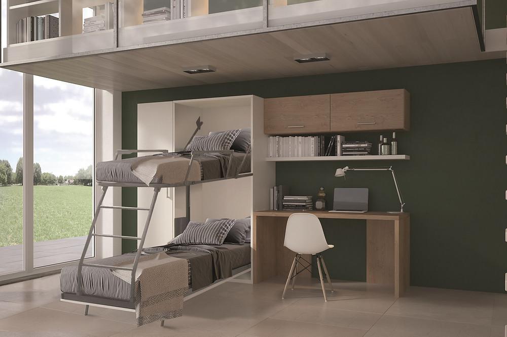 מיטת קיר נפתחת למיטת קומותיים- מיקרו ליבינג
