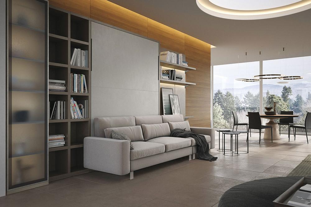 מיטת קיר שמשלבת מערכת ישיבה מפנקת במיוחד