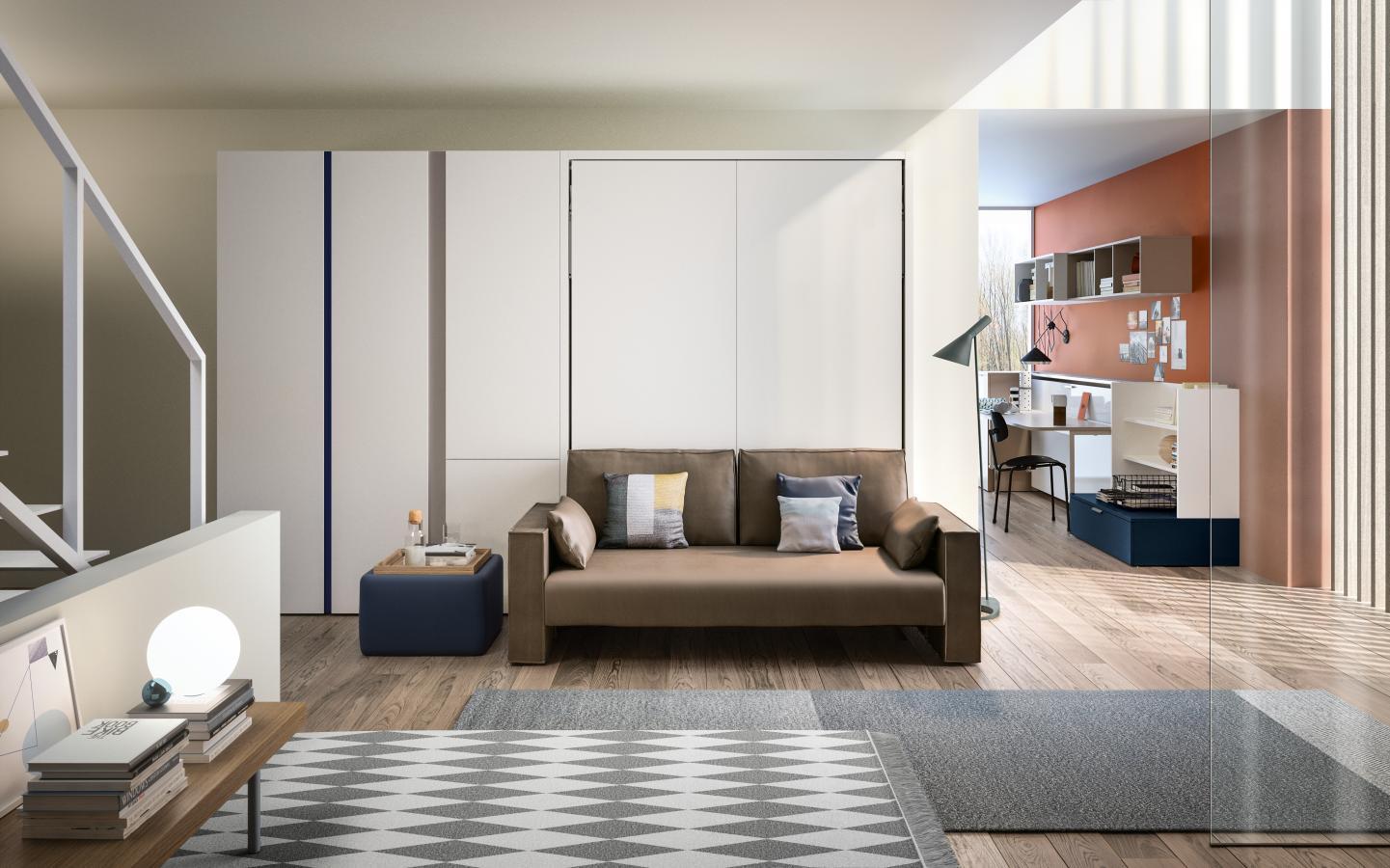 מיטת קיר משולבת עם מערכת ישיבה