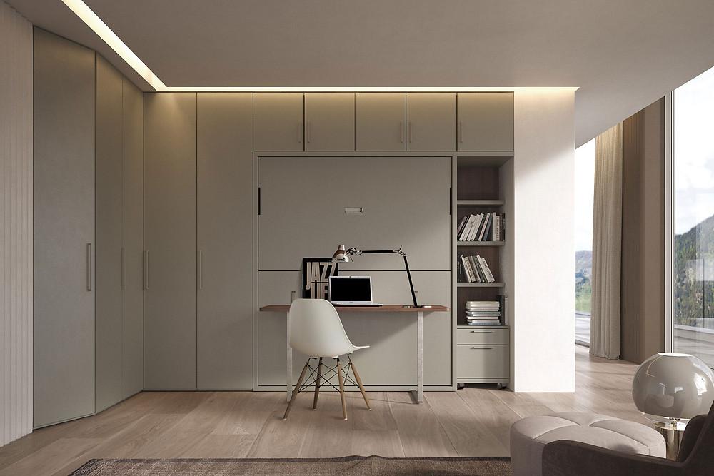 מיטת קיר נסתרת משולבת עם שולחן עבודה גדול- איכות איטלקית ללא פשרות