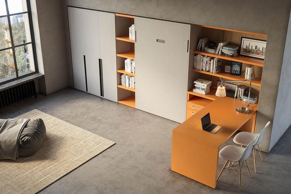 מערכת של מיטת קיר משתלבת בצורה מושלמת בסגנון החיים האורבני