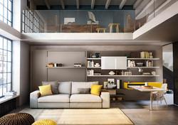 מיטת קיר עם ספה