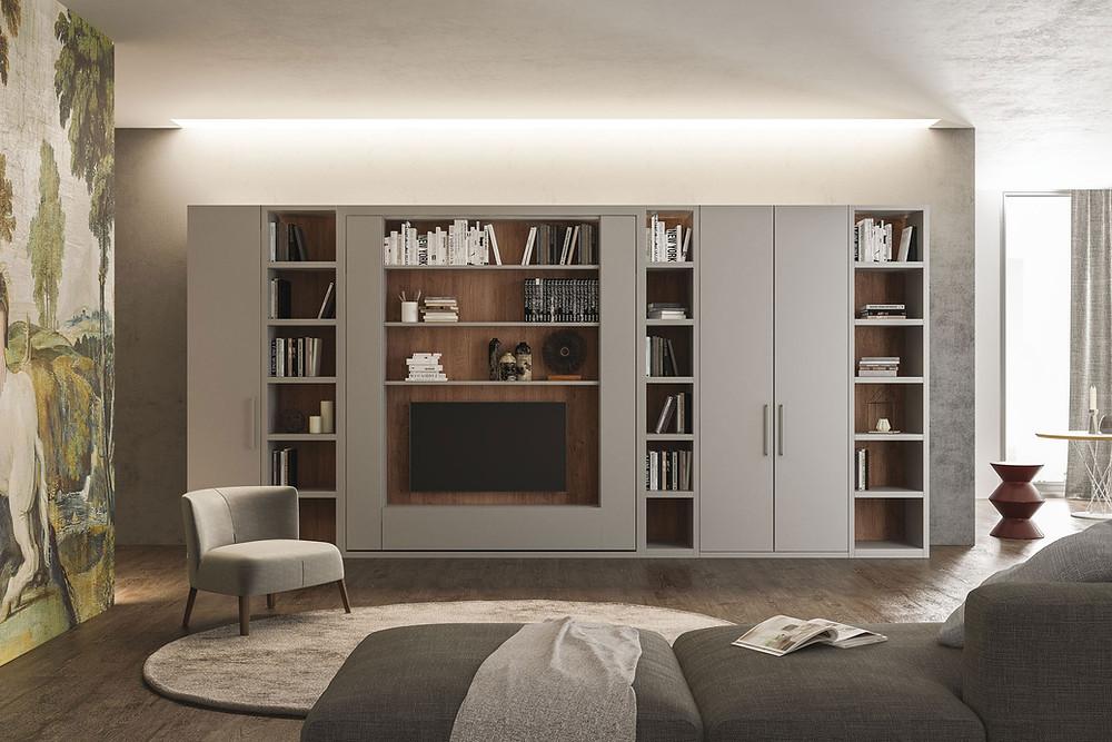 מערכת בידור משולבת עם מיטת קיר- אקסלנט רהיטים