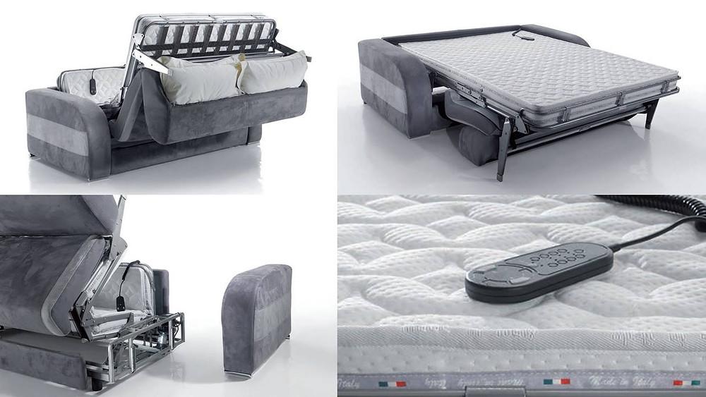 ספה שנפתחת למיטה עם שלט חשמלי, הספה הופכת למיטה בלחיצת כפתור.