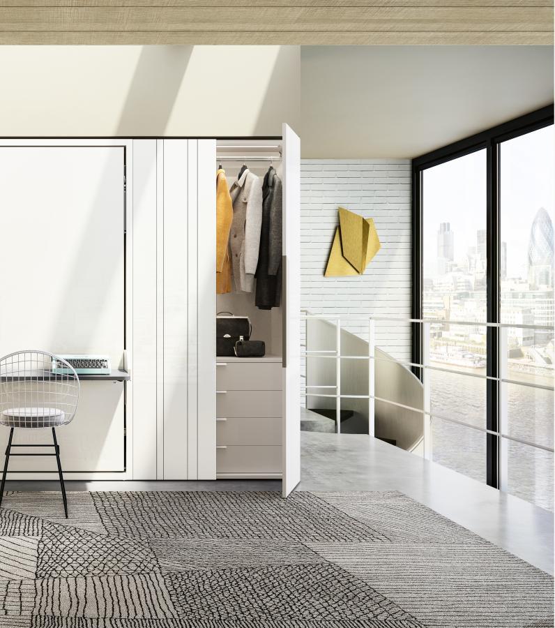 מיטת קיר משולבת עם שולחן עבודה