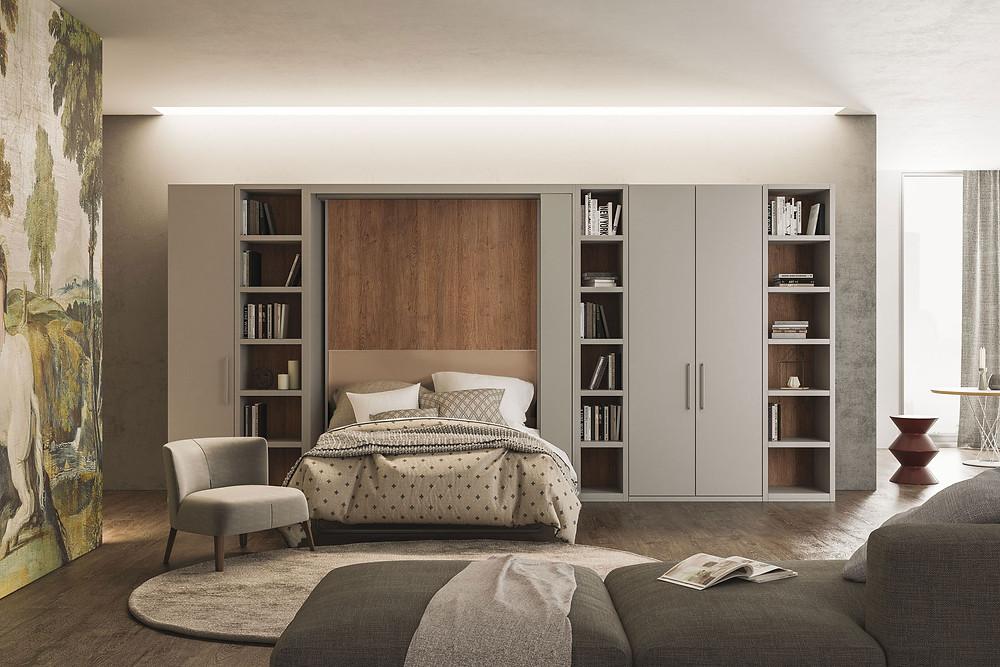 ברגע אחד המיטה נפתחת מהקיר ואתם מקבלים מיטה זוגית מפנקת במיוחד- מיטות קיר וריהוט חכם של אקסלנט