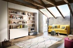 פתרונות אירוח- ספה נפתחת למיטת קומותיים