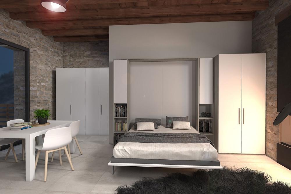 בעת הצורך ניתן לקפל את המיטה לקיר ולהעלים את חדר השינה