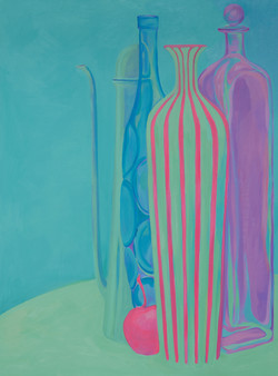 Still life in Blue, Violet, and Pink