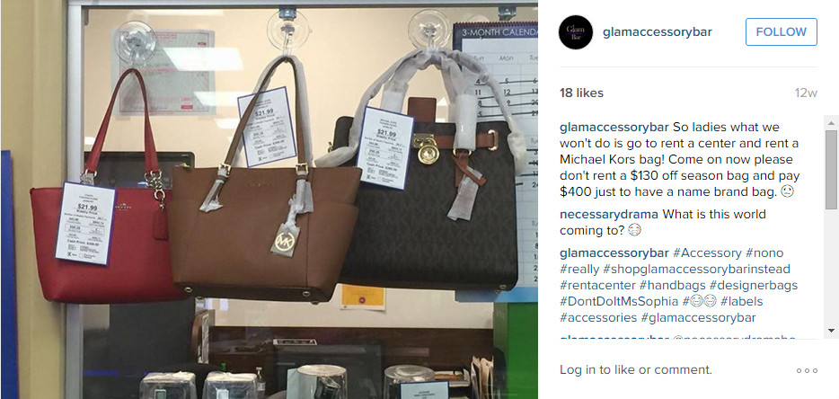 Exhibit A: Michael Kors Purses for RENT at Rent-A-Center.  Let that sink in.