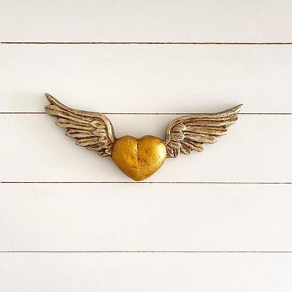 Corazón simple dorado las plateada