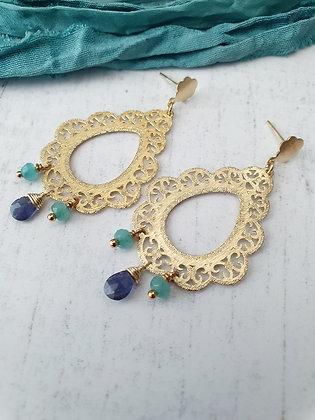 Aros Julieta azul y celeste