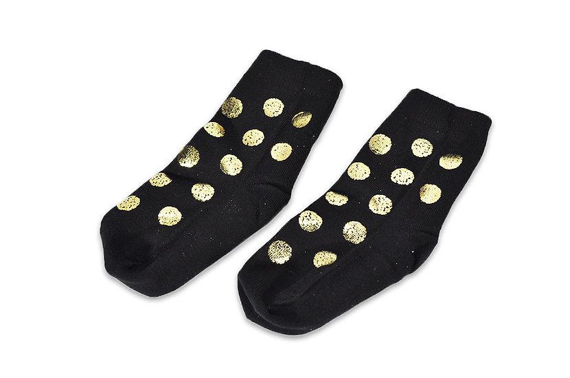 Calcetines Negros puntos Dorados