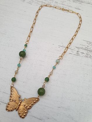 Collar Corto Mariposa Bronce Piedras  Verde
