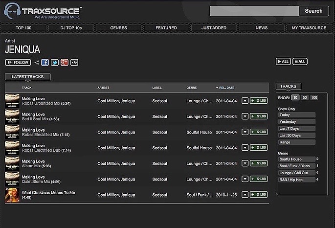 Traxsource, UK (Top of a few Charts)