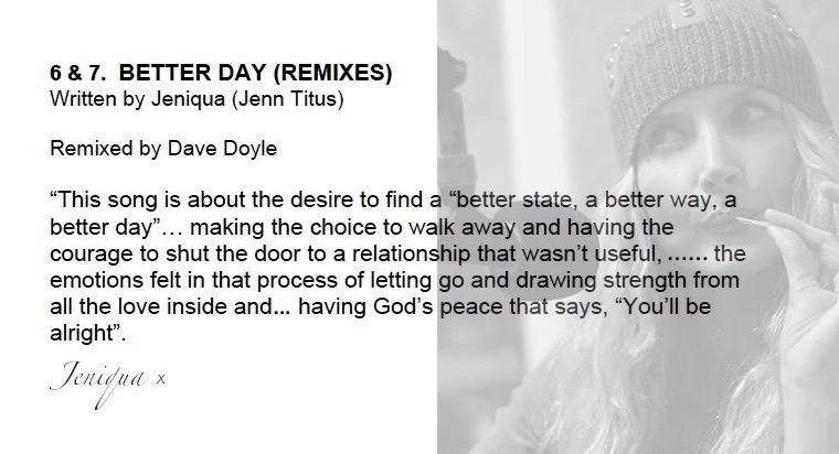 Jeniqua EP 'BETTER DAY' Remixes