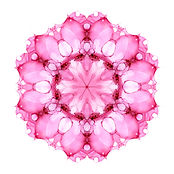 Pink watercolor flower mandala isolated