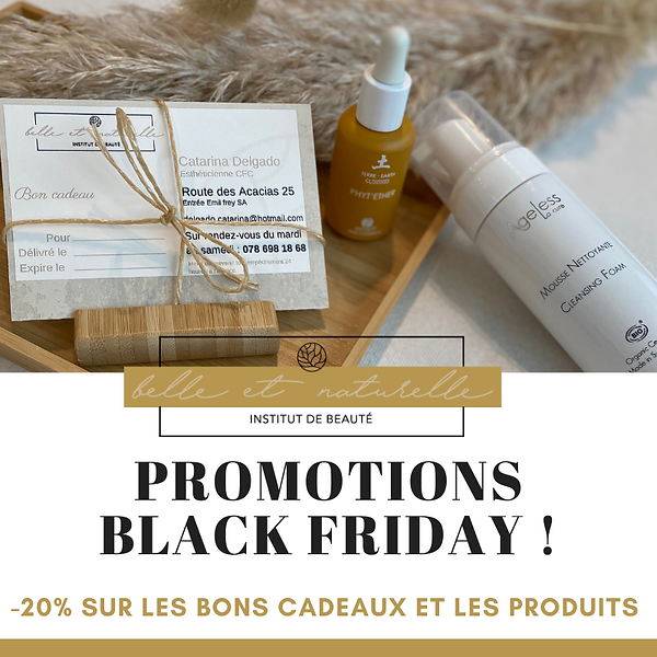 Black Friday -20% bon cadeau et produits