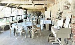 Raised cloister dressed for wedding reception at Peelings Manor Barns
