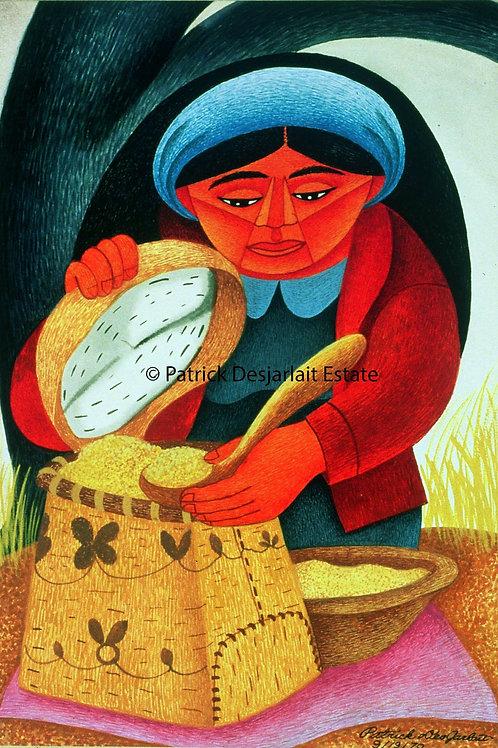Woman storing Maple Sugar - 1970