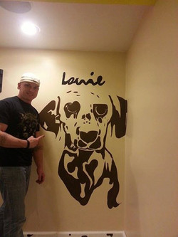 Client's Dog Painted in bedroom.