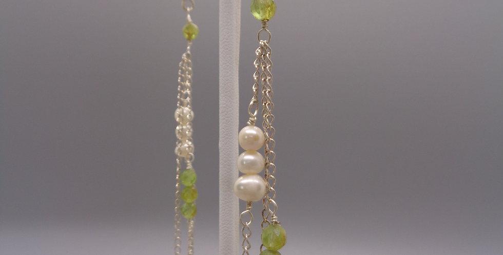 Cascading Peridot & Pearl Earrings