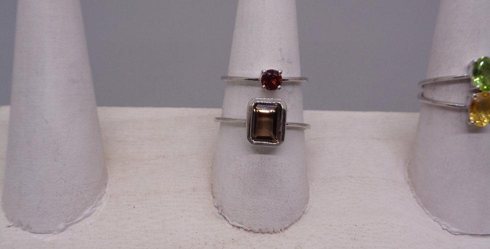 Silver Framed Smokey Quartz Ring