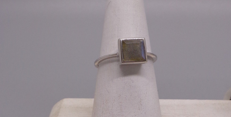Silver Framed Labradorite Ring