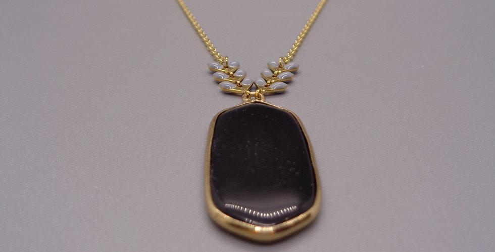 Black Jet & Enamel Detail Necklace
