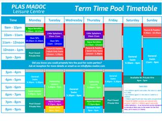 Term Time Pool Timetable