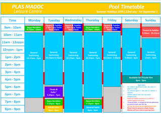 SUMMER POOL TIMETABLE
