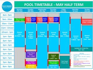 May Half Term Timetable.