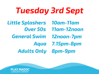 Swim Times for Tuesday 3rd September