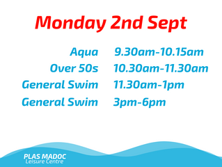 Swim Times for Monday 2nd September