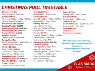 Festive Period Pool Timetable